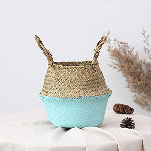 (Tpingfe Seagrass Wicker Basket, Wicker Basket, Flower Pot Folding Basket, Dirty Basket (Blue, 22x20)