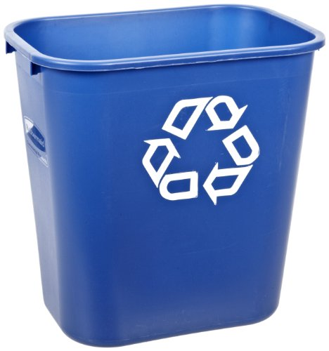 Recycling Container Deskside - Rubbermaid Commercial FG295673 Blue Medium Deskside Recycling Container with Universal Recycle Symbol, 28-1/8 qt Capacity, 14.4