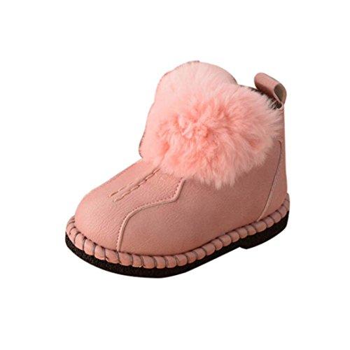 Huhu833 Kinder Mode Jungen Mädchen Stiefel Martin Stiefel Winter Schnee Warm Ankle Boots Zipper Kinder Chelsea Schuhe Rosa