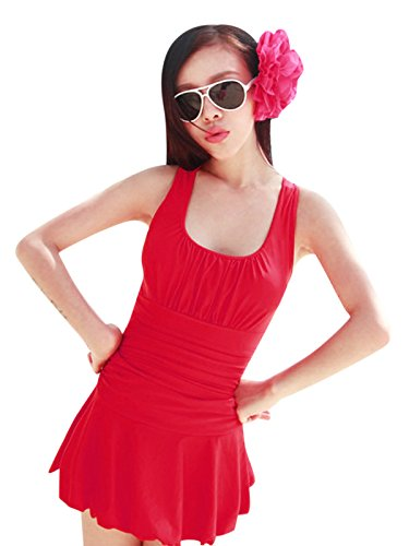 Womens Elegant One Piece Ruched Slim Tummy Control Tankini Swim Dress Blue