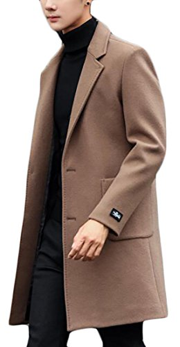 WSPLYSPJY Mens Slim Solid Stand Collar Single-Breasted Wool Blend Pea Coat Camel M -