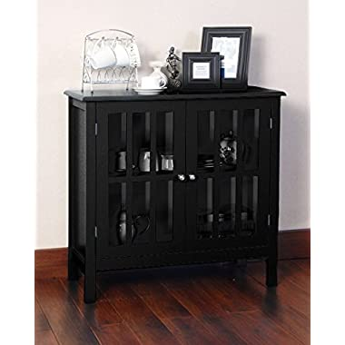 Black Double Glass Door Storage Accent Cabinet Floor Table