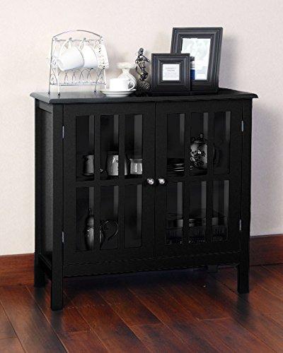 Floor Accents: Black Double Glass Door Storage Accent Cabinet Floor Table