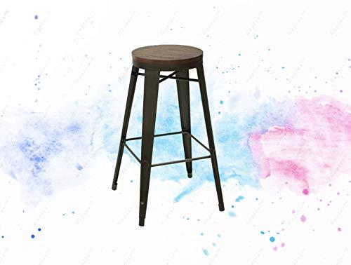 GUPLUS-Stool, Multiple Colors Vintage oak stool has an industrial design Cafe-inspired wood seat bar stool Dimensions: 17