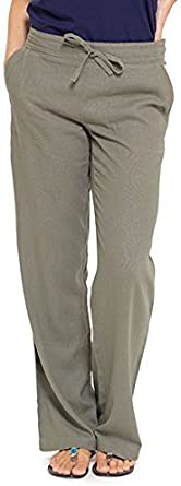INSIGNIA elasticizzati sul retro con tasche Pantaloni casual da donna in lino
