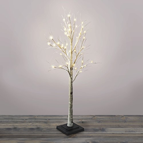 4.5 Ft. Pre-lit Birch Tree, 48 Warm White LEDs, Indoor/Outdoor Use, Plugin, Timer Included, UL Listed (Stick Tree With Lights)