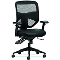 HON Prominent High Back Leather Task Chair - Mesh Computer Chair with Arms for Office Desk, Black (HVL532)