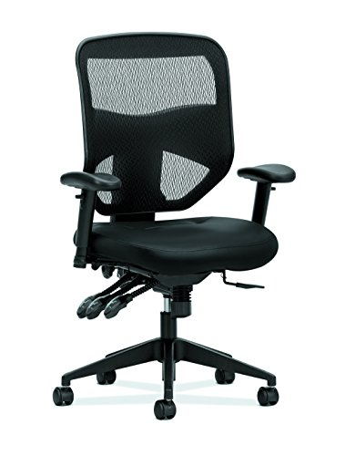 HON Prominent High Back Leather Task Chair – Mesh Computer Chair with Arms for Office Desk, Black (HVL532)