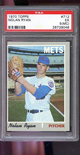 - 1970 Topps #712 Nolan Ryan New York Mets MLB EX PSA 5 (MC) Graded Baseball Card