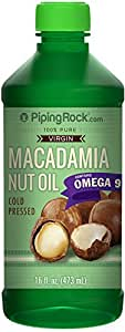 Piping Rock 100% Pure Virgin Macadamia Nut Oil 16 fl oz (473 mL) Bottle Cold Pressed with Omega 9