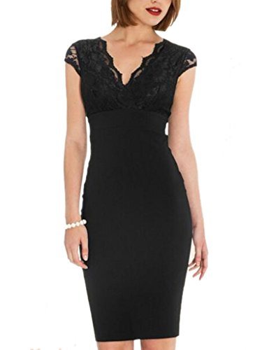 Blooming Jelly Femmes Cap Manche V Neck Elegant Lace Pencil Dress