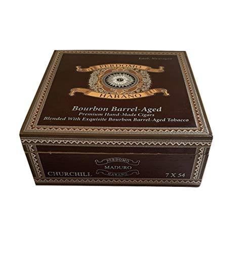 Perdomo Premium Wood Empty Cigar Box Case for Crafts, Guitars or Storage (Maduro Churchill 7x25)