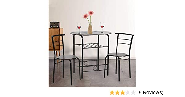 Amazon Com Dining Kitchen Table Dining Set 3 Piece Metal Frame