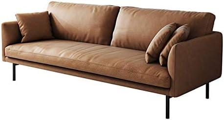 Acanva Luxury Mid-Century Modern Leathaire Single Cushion Living Room Sofa