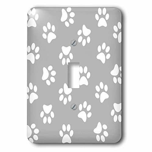 3dRose lsp_161526_1 Gray and White Paw Print Pattern - Grey Pawprints - Cute Cartoon Animal Eg Dog or Cat Footprints Single Toggle Switch by 3dRose