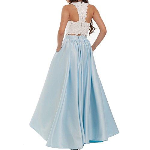 Lang für Hochzeit A Weinrot LuckyShe Abendkleider Edle Ballkleid Neckholder Elegant Spitze Damen linie ZnwqTU1A