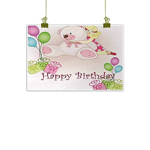 """Mannwarehouse Kids Birthday Modern Frameless Painting Baby Girl Birthday with Teddy Bears Toys Balloons Surprise Boxes Dolls Image Bedroom Bedside Painting 47"""" Wx32 L Light Pink from Mannwarehouse"""