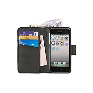 Manhattan Completa Cartera Cuero iPhone 5 5S 5C Titular Tarjeta Caso Negro