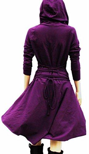 Jaycargogo Manches Longues À Capuche Femme Dos Robe Bandage Violet