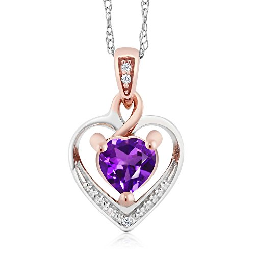 Gem Stone King 10K White and Rose Gold 5mm Amethyst and Diamond Heart Shape Pendant Necklace (0.40 cttw, With 18 inch Chain)
