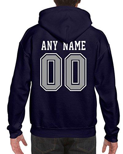 Men's Cowboys Custom Pullover Hoodie Navy Blue Sport Football Hooded Sweatshirts Size XXL ()