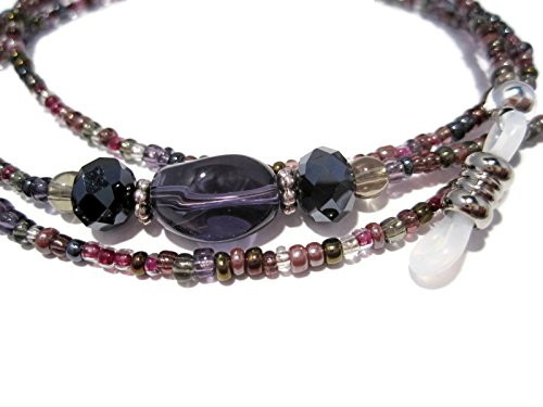 ATLanyards Purple and Gray Mix Beaded Eyeglass Holder - Purple Eyeglass Chain - Eyeglass Lanyard