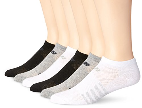 New Balance Lifestyle No Show Socks (12 Piece), Medium, White/Grey/Black