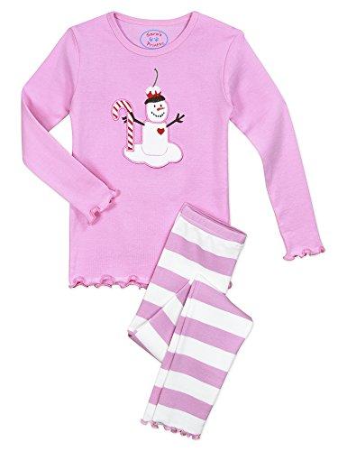 Sara's Prints Baby Big Girls' Cotton Sweet Ruffle Edged Snug Fit Pajama Set, Pink Marshmallow-Spwm, (Snug Fitting)