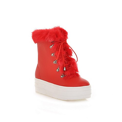 Closed Heels Womens Round Red Frost Solid Boots B Toe US PU Toe Kitten AmoonyFashion with M Plush Platfrom Short 5 fX5qw44