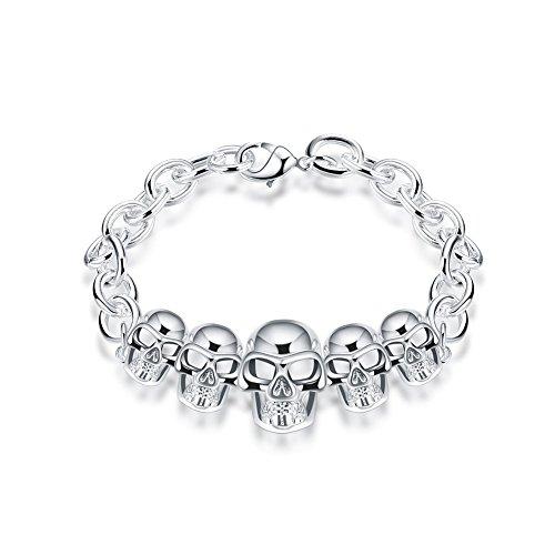 Montana Silver Plated Plates (iCAREu Silver Plated Halloween Skull Charm Bracelet for Women, Girls, 8