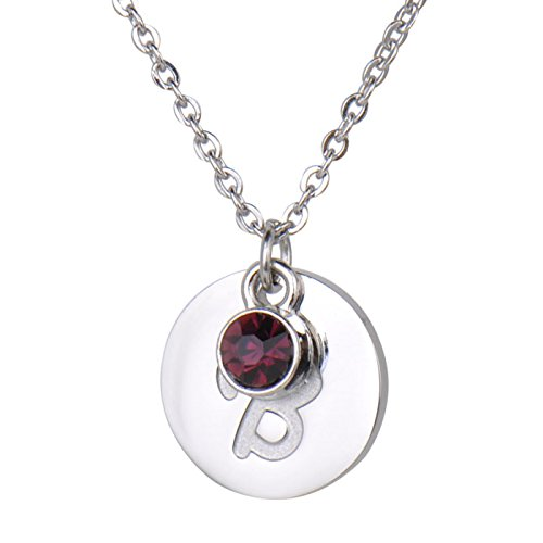 HUAN XUN Personalized Silver Initial Necklace Letter B with Birthstone -
