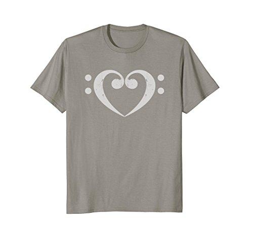 Mens Bass Player T Shirt Bass Clef Heart Love Bass Player Gift XL Slate
