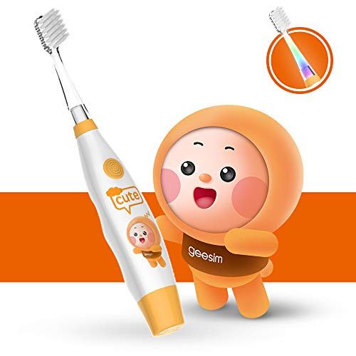 Baby Electric Toothbrush Sonic Toothbrush babies Battery Powered kids Tooth Brush with LED Light and Smart Timer Waterproof Replaceable Deep Clean For kids&baby-Baby Tooth brush (ORANGE) -