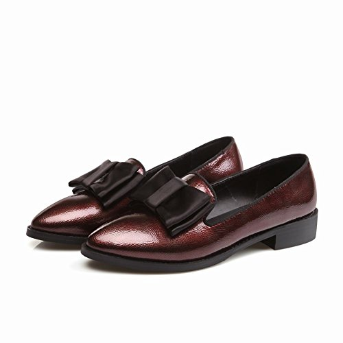 Latasa Womens Fashion Bow Pointed-toe Chunky Heel Slip on Comfort Loafers Shoes claret-red qMMr500dJ