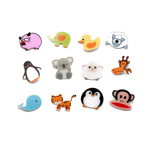 Forch 12 PCS Animals Cartoon Pins Cat Dog Acrylic Brooch Women Girls Cute Badges for Clothes Bags Backpacks Hat Jacket (AB12-02)