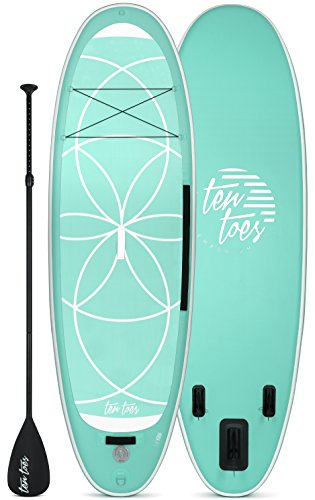 Ten Toes 10' Yogi Inflatable Stand Up Paddle Board Bundle, Seafoam - 2017 (Aluminum Toe Board)
