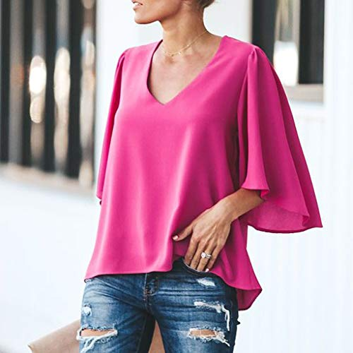 Pervobs Women Ladies Loose Swing Tunic Casual Half Sleeve V-Neck Soild T-Shirt Tee Blouse Tops(US: 6, Hot Pink) by Pervobs T-Shirt (Image #4)