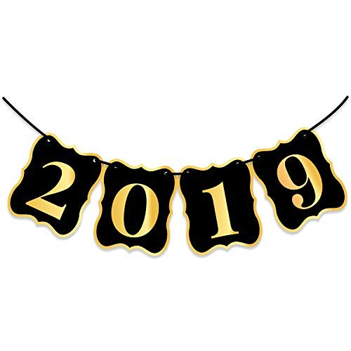 2019 Banner, Black and Gold - Beautiful Banner Decor for Graduations Party Supplies 2019  Graduations Photos, Events, Proms | Alternative To 2019 Balloons | Large 8 -