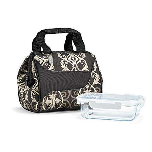 Fit & Fresh Women's Downtown Insulated Lunch Bag with Glass Meal Prep Container, Black Helix Damask