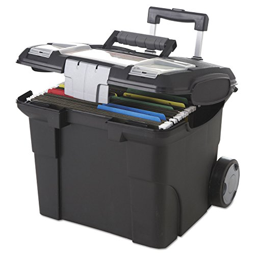 Storex Portable File Box on Wheels, 15 x 16 x 14.25 Inches, Black (61507U01C) (Rolling File Folder)