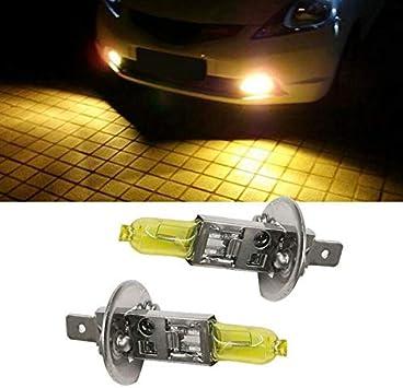 2 X Aqua Vision H1 55 W 12 V P14 5s Halogen Car Bulbs 3000 K Yellow Low Beam High Beam Additional Headlights Fog Lights Hallenwerk Auto