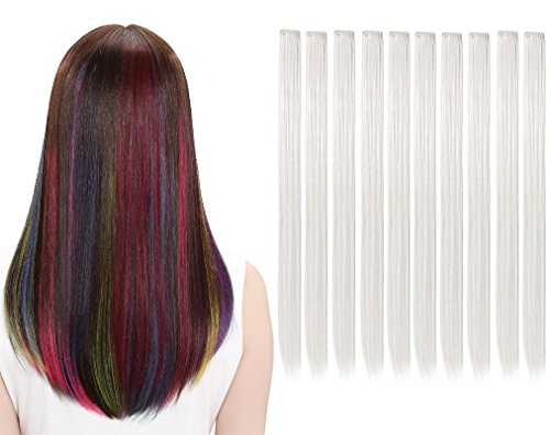 LiaSun 10Pcs/set Multi-Colors Straight Highlight Clip in Hair Extensions 20 Inch Colored Party Hair Pieces (White) -