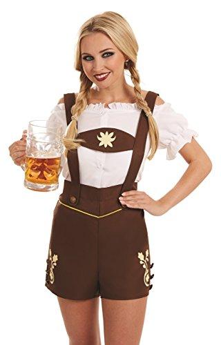 Ladies Sexy German Bavarian Oktoberfest Lederhosen Hot Pants Hen Do Night Carnival Halloween Festival Fancy Dress Costume Outfit UK 8-22 Plus Size (UK 20-22) -