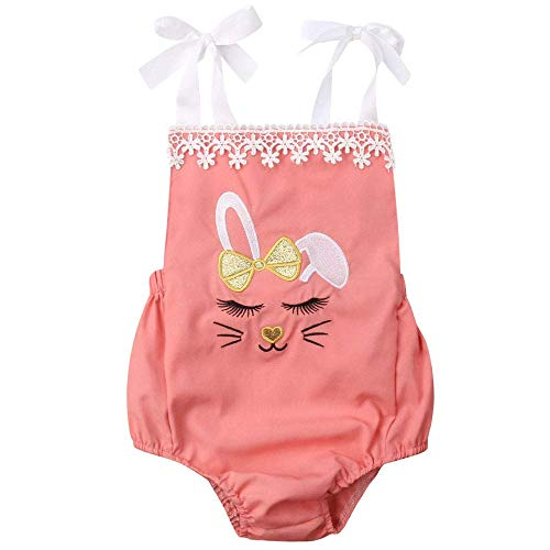 Infant Baby Girls Summer Cartoon Easter Rabbit Romper Sleeveless Halter Bodysuit Jumpsuit Bunny Cute Outfit Clothing (Pink, 3-6 Months) ()
