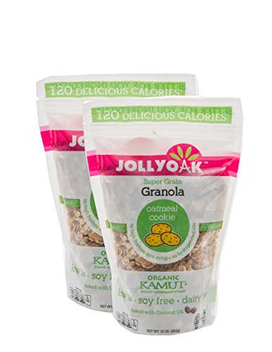 - Jolly Oak Super Grain Granola, Oatmeal Cookie, Healthy Low Calorie Granola of toasted oats, organic KAMUT and touch of honey (Pack of 2)