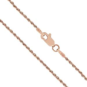 14K Solid Rose Gold 1mm Rope Chain Necklace - 16 Inches