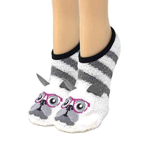 - OoohYeah Women's Animal Mary Janes Pug Time Sock Slippers One Size