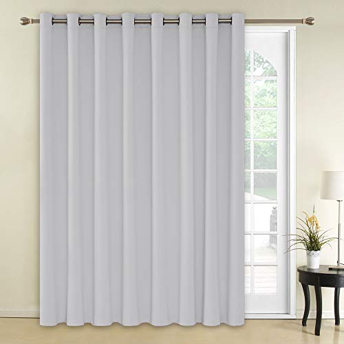 Deconovo Thermal Insulated Patio Door Curtains Greyish White Blackout Curtains 1 Panel Grommet Room Divider Darkening Curtain for Bedroom 100x84 Inch Platinum 1 Drape