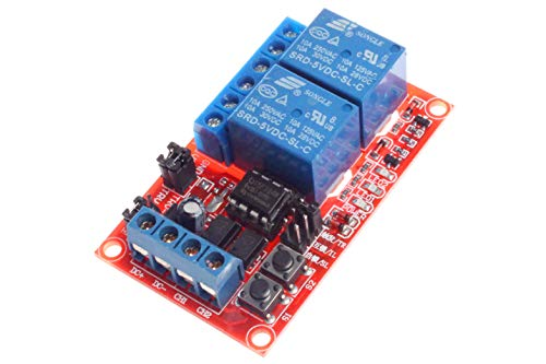 NOYITO 2-Channel Relay Module Self-locking Triggering Interlocking Optocoupler Isolation High/Low Level Trigger for PLC Industrial Control Arduino (5V) ()