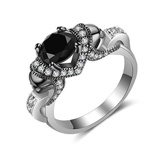 Czjewelry Black Skull Rings for Women 5-Tone Punk Engagement Wedding Band AAA Cubic Zirconia Jewelry (Triple Tone Wedding Bands)